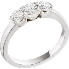 Three Stone Ring/Engagement Ring for women in 18ct white gold with 3 round diamonds in a claw setting