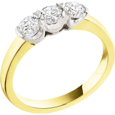 Three Stone Ring/Engagement Ring for women in 18ct yellow and white gold with 3 round diamonds in a claw setting