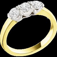 Drei-Steine Ring/Verlobungsring für Dame in 18kt Gelbgold und Weißgold mit 3 runden Brillant Diamanten in Krappenfassung