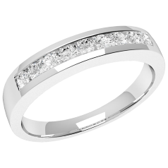 Inel Semi Eternity Dama Aur Alb, 18kt cu 9 Diamante Rotund Briliant in Setare Canal In Stoc