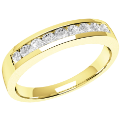 Half Eternity Ring for women in 18ct yellow gold with 9 round brilliant cut diamonds in channel-setting