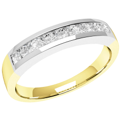RD053YW - 18ct yellow and white gold eternity ring with 9 channel-set round brilliant cut diamonds