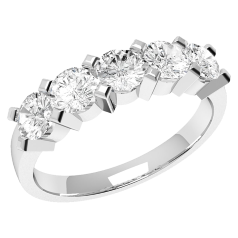 Inel Semi Eternity Dama Aur Alb, 18kt cu 5 Diamante Rotunde