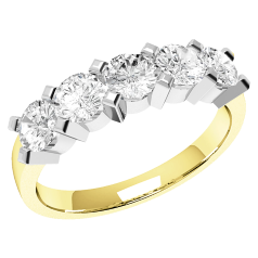 RD054YW - 18ct yellow and white gold ring with 5 round diamonds