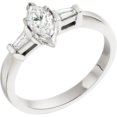 Three Stone Ring/Single Stone Engagement Ring With Shoulders for women in platinum with a marquise cut and two tapered baguette diamonds