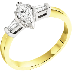 Three Stone Ring/Single Stone Engagement Ring With Shoulders for women in 18ct yellow and white gold with a marquise cut and two tapered baguette diamonds