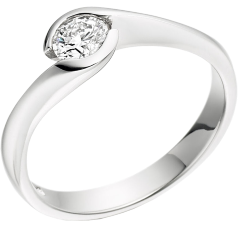 Single Stone Engagement Ring for Women in 18ct White Gold with a Round Diamond in a Rub-over Setting