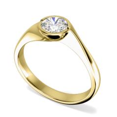 RD060Y-Inel de Logodna Solitaire Dama Aur Alb 18kt cu Diamant Rotund Briliant in Setare Rub Over