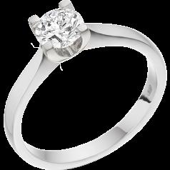 Solitär Verlobungsring für Dame in 9kt Weißgold mit einem Brillanten in 4er Krappenfassung
