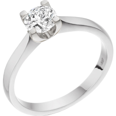 Single Stone Engagement Ring for Women in 18ct White Gold with a Round Cut Diamond in a 4-claw Setting
