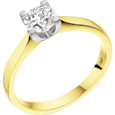 Single Stone Engagement Ring for Women in 18ct Yellow and White Gold with a Round Cut Diamond in a 4-claw Setting