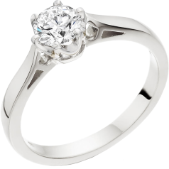 Single Stone Engagement Ring for Women in 18ct White Gold with a Round Brilliant Cut Diamond in a 6-claw Setting