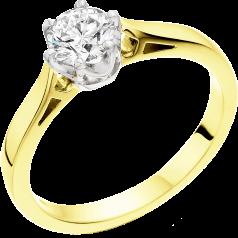 Solitär Verlobungsring für Dame in 18kt Gelb und Weißgold mit einem runden runden Diamanten in 6er Krappenfassung