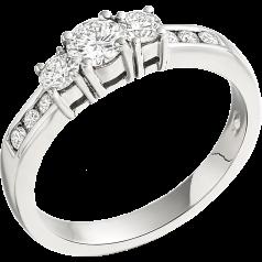 Inel de Logodna cu 3 Diamante Dama Aur Alb 18kt cu 3 Diamante Rotund Briliant & Diamante pr Margini