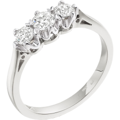 Three Stone Ring/Engagement Ring for women in 18ct white gold with 3 round diamonds in a 6-claw setting