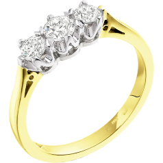 Three Stone Ring/Engagement Ring for women in 18ct yellow and white gold with 3 round diamonds in a 6-claw setting