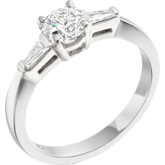 Single Stone Engagement Ring With Shoulders/Three Stone Ring for women in platinum with a round centre and two baguette diamonds