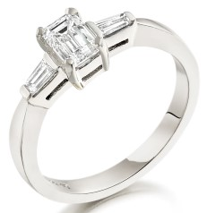 Single Stone Engagement Ring With Shoulders/Three Stone Ring for women in 18ct white gold with an emerald cut centre and two baguette diamonds