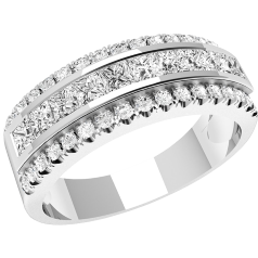 RD108W - 18ct white gold ring with princess cut & round diamonds