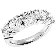 RD110W - 18ct white gold ring with 5 round diamonds in a 4-claw setting