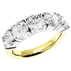 RD110YW - 18ct yellow and white gold ring with 5 round diamonds in a 4-claw setting