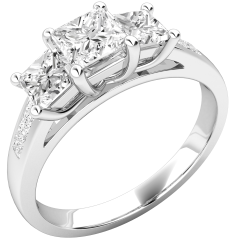 Three Stone Ring with Shoulders/Engagement Ring for women in 18ct white gold with 3 princess cut diamonds & diamonds on the shoulders