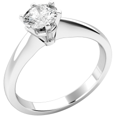 Inel de Logodna Solitaire Dama Aur Alb 9kt cu un Diamant Rotund Briliant in Setare cu 6 Gheare