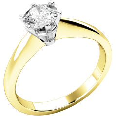 Single Stone Engagement Ring for Women in 18ct Yellow and White Gold with a Round Diamond in a 6-claw Setting
