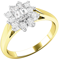 Cluster Engagement Ring For Women in 18ct Yellow and White Gold with an Emerald Cut Centre and Round Diamonds Surrounding