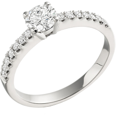 Single Stone Engagement Ring With Shoulders for Women in 18ct White Gold with a Round Centre and Round Shoulder Diamonds