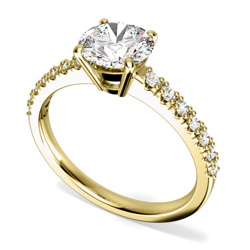 Inel de Logodna Solitaire cu Diamante Mici pe Lateral Dama Aur Galben 18kt cu Diamant Central Rotund Briliant si Diamante Rotunde pe Lateral