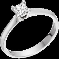 Solitär Verlobungsring für Dame in 9kt Weißgold mit einem Princess Schliff Diamanten in 4er Krappenfassung