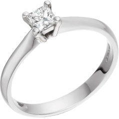 Solitär Verlobungsring für Dame in Palladium mit einem Princess Schliff Diamanten in 4er Krappenfassung