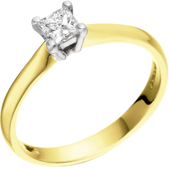 Single Stone Engagement Ring for Women in 18ct Yellow and White Gold with a Princess Diamond in a 4-claw Setting