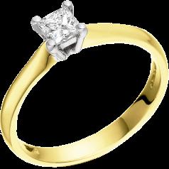 Solitär Verlobungsring für Dame in 18kt Gelbgold und Weißgold mit einem Princess Schliff Diamanten in 4er Krappenfassung
