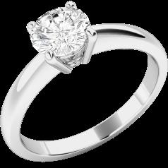 Solitär Verlobungsring für Dame in Palladium mit einem runden Diamanten in 4er Krappenfassung