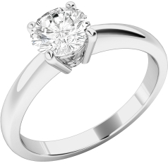 Single Stone Engagement Ring for Women in 18ct White Gold with a Round Diamond in a 4-claw Setting