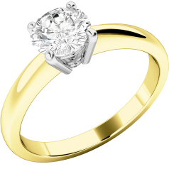 Single Stone Engagement Ring for Women in 18ct Yellow and White Gold with a Round Diamond in a 4-claw Setting
