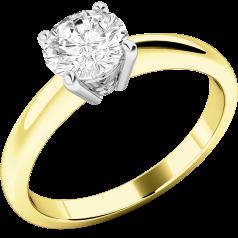 Solitär Verlobungsring für Dame in 18kt Gelbgold und Weißgold mit einem runden Diamanten in 4er Krappenfassung
