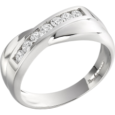 Dress Cocktail Ring for Women in platinum with round diamonds in a channel setting