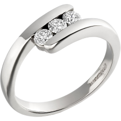 RD133W - 18ct white gold twist ring with 3 round brilliant cut diamonds
