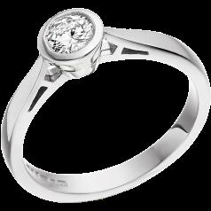 Solitär Verlobungsring für Dame in 9kt Weißgold mit einem runden Brillantschliff Diamanten in Zargenfassung