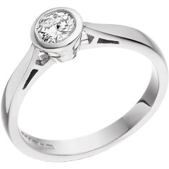 Single Stone Engagement Ring for Women in 9ct White Gold with a Round Brilliant Diamond in a Rub-over Setting on Offer