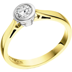 Single Stone Engagement Ring for Women in 18ct Yellow and White Gold with a Round Brilliant Diamond in a Rub-over Setting