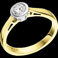 Solitär Verlobungsring für Dame in 18kt Gelb und Weißgold mit einem runden Brillantschliff Diamanten in Zargenfassung