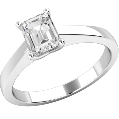Single Stone Engagement Ring for Women in 18ct White Gold with an Emerald Cut Diamond in a Wed-Fit Setting