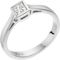 Single Stone Engagement Ring for Women in 18ct White Gold with a Princess Cut Diamond in a Rub-over Setting