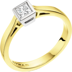 Single Stone Engagement Ring for Women in 18ct Yellow and White Gold with a Princess Cut Diamond in a Rub-over Setting