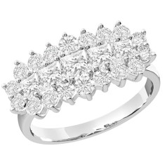 RD143W - 18ct white gold cluster ring with princess cut central diamonds and round diamonds surrounding