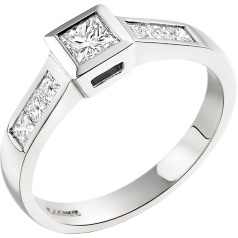 Single Stone Engagement Ring With Shoulders for Women in 18ct White Gold with a Princess Cut Centre and Princess Cut Shoulders on Offer
